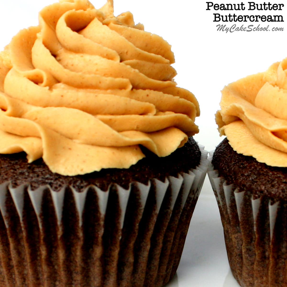 The BEST Peanut Butter Buttercream Frosting Recipe by MyCakeSchool.com! So good as a filling and frosting for chocolate cakes and cupcakes! My Cake School Cake Recipes, Cake Videos, Cake Tutorials, and more!