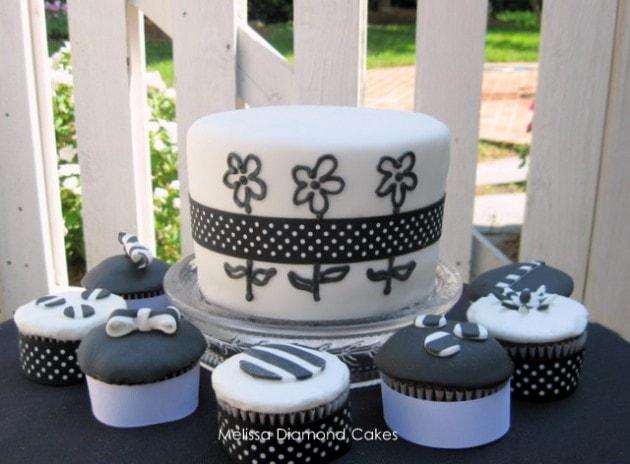 Fun Daisy Cake Design and Fondant Cupcake Video Tutorial by MyCakeSchool.com.