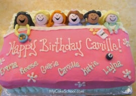 The CUTEST Sleepover Cake! From My Cake School's member cake video tutorial section. MyCakeSchool.com.