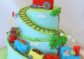 Learn how to carve spiral cake tiers in this train themed cake video tutorial! MyCakeSchool.com.