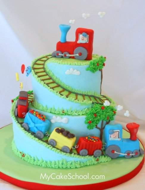 Train Cake Tutorial by MyCakeSchool.com