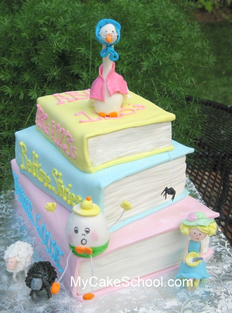 How to Make a Stack of Books Cake! Video Tutorial by My Cake School.