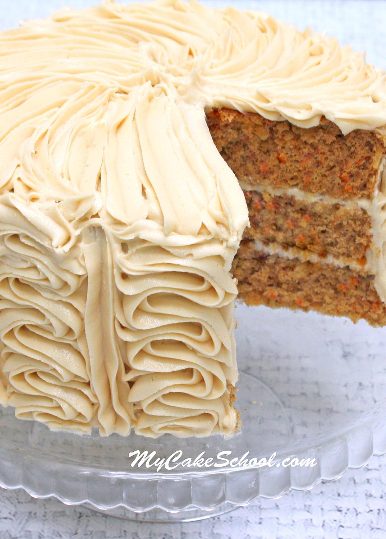 Carrot Cake - Doctored Mix Recipe by MyCakeSchool.com
