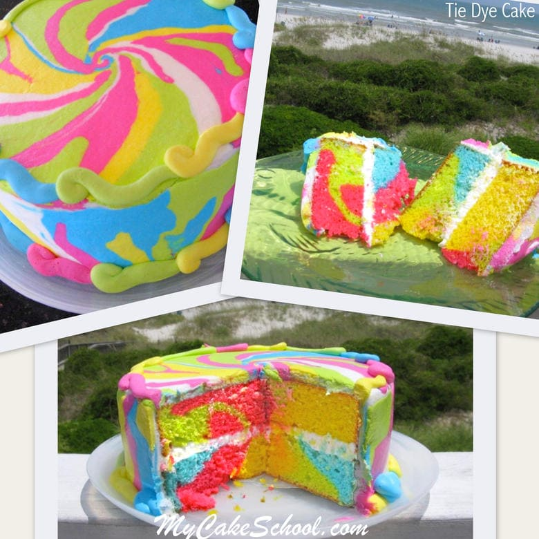 Groovy! Learn to make a brightly colored tie dye pattern inside and out in this cake decorating video tutorial by My Cake School!