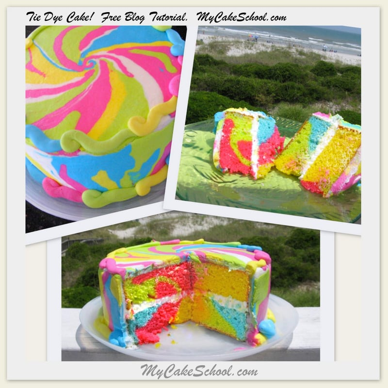 Tie Dye Cake Tutorial! The perfect cake for summertime with brightly colored cake and buttercream!-Find our free tutorial here!- MyCakeSchool.com