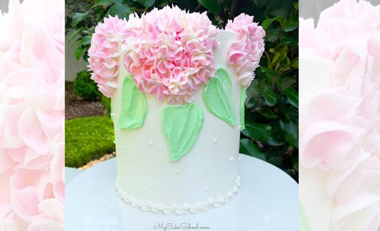 Easy Buttercream Hydrangea Cake Tutorial