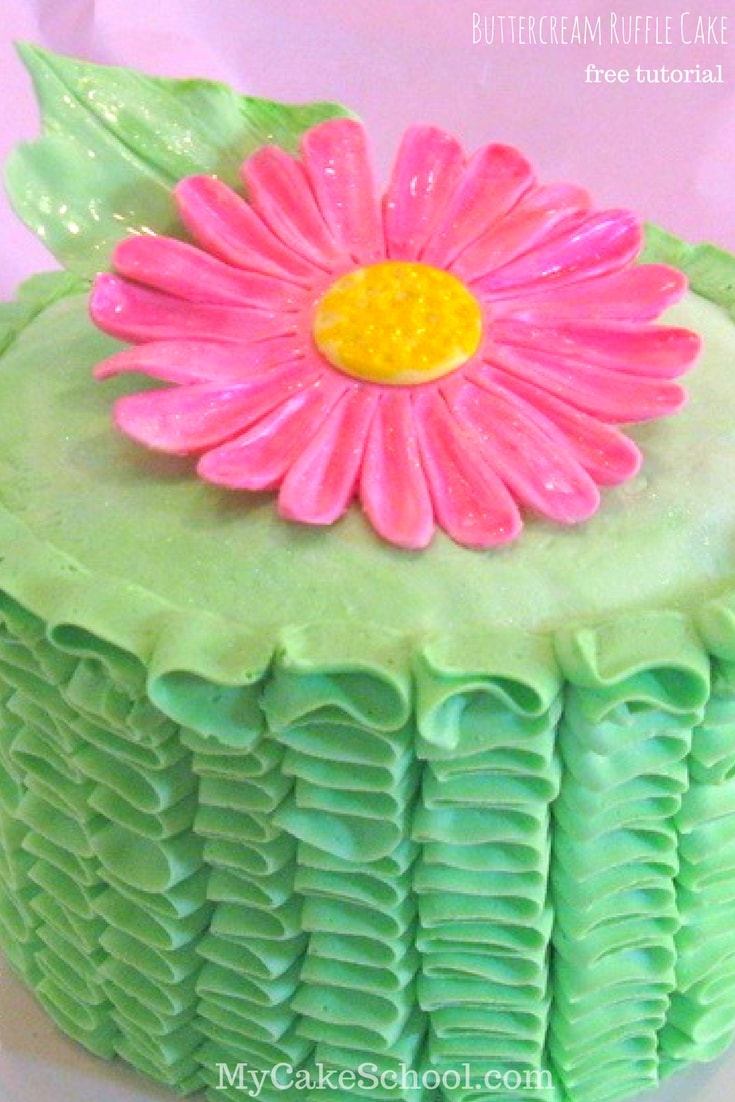 Free Tutorial! Learn how to make a buttercream ruffle cake in this My Cake School tutorial!