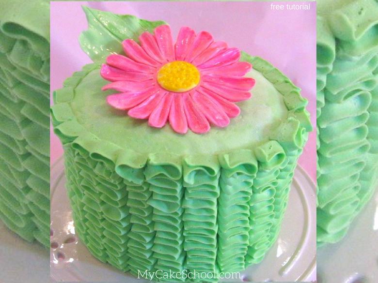 Learn how to make beautiful ruffled buttercream in this free cake buttercream cake tutorial by MyCakeSchool.com!