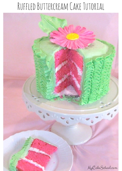 Beautiful Ruffled Buttercream Cake Tutorial by MyCakeSchool.com!