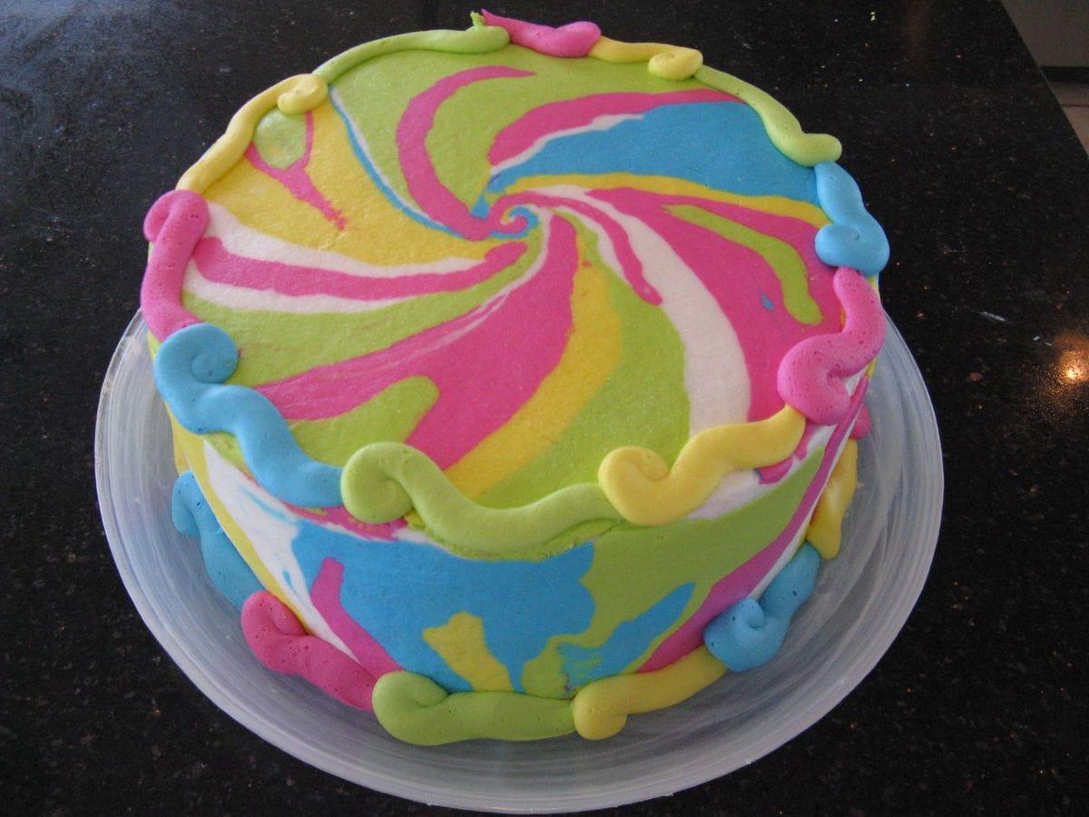 Peace Sign Inside Cake