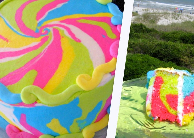 How to Make a Tie Dye Cake and Tie Dye Buttercream! Free Cake Decorating Tutorial by MyCakeSchool.com! Online Cake Classes and Recipes!