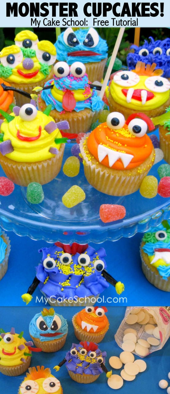 CUTE buttercream Monster Cupcakes! Free tutorial by MyCakeSchool.com!