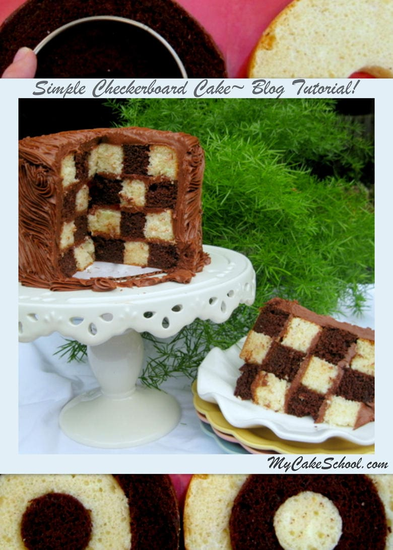 Learn to make a Checkerboard Cake! No special pans required! MyCakeSchool.com blog tutorial!