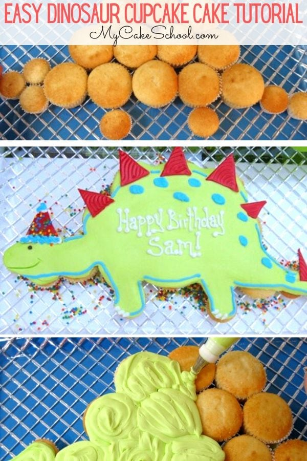 Learn how to make an easy Dinosaur Cupcake Cake in this free step by step cupcake tutorial!