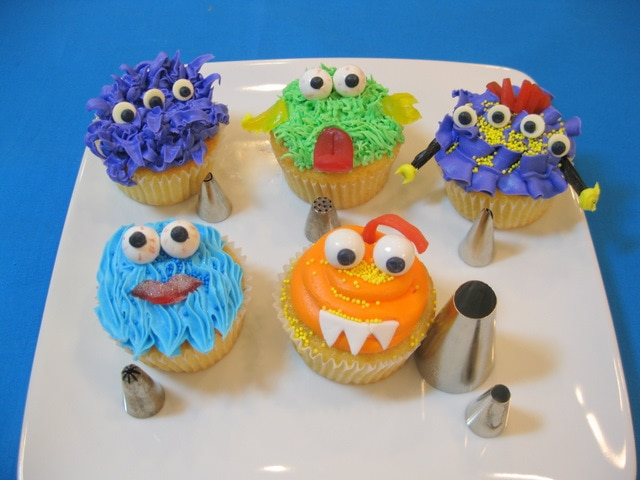 Monster Cupcakes!! Free buttercream cupcake tutorial by MyCakeSchool.com!