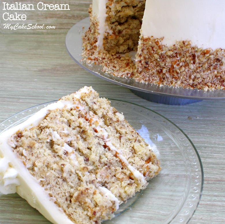 This classic Italian Cream Cake Recipe from Scratch is amazing! My Cake School cake recipes, cake videos, and more!
