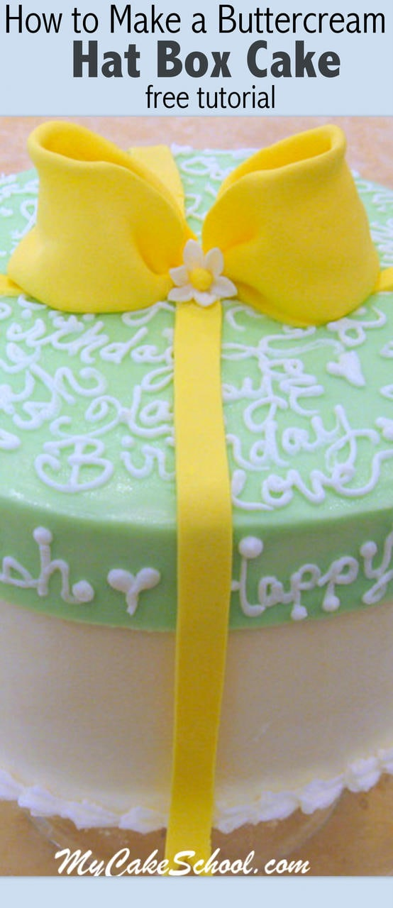 Learn how to make a hat box cake with a frosted lid in this MyCakeSchool.com Free Tutorial!