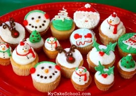 Adorable Christmas and winter themed cupcakes from MyCakeSchool.com's video tutorial!