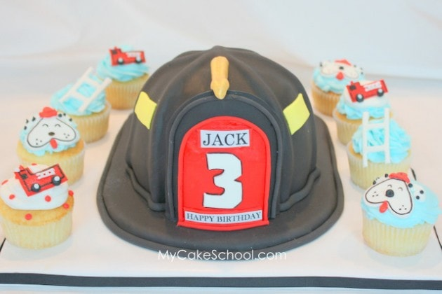Learn how to make a Fire Helmet Cake in this Cake Decorating Video Tutorial by MyCakeSchool.com! Member Cake Video Tutorial Section!