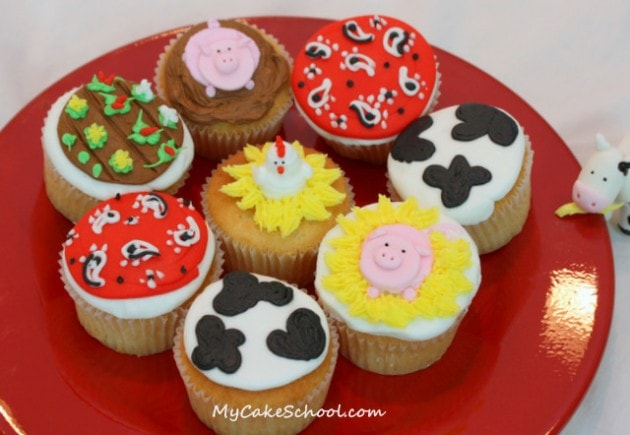 Cute Farm and Western Themed Cupcakes! Video Tutorial by MyCakeSchool.com.