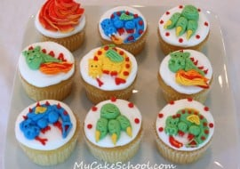 Adorable Buttercream Dragon Cupcakes! Tutorial from MyCakeSchool.com's member section. Online Cake Tutorials & Free Cake Recipes! ;0)