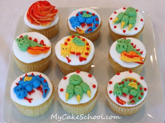 Adorable Buttercream Dragon Cupcakes! Tutorial from MyCakeSchool.com's member section. Online Cake Tutorials & Free Cake Recipes! ;0)