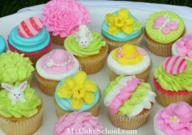 Springtime Cupcakes in Buttercream! A My Cake School video tutorial!