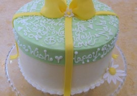 How to Make a Hat Box Cake with a Frosted Lid! Free step by step cake decorating tutorial by MyCakeSchool.com!