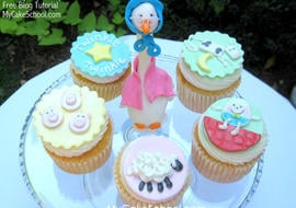 CUTE Nursery Rhyme Cupcake Tutorial by MyCakeSchool.com! Free step by step cupcake tutorial!