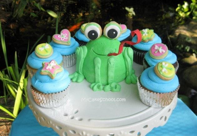 Adorable frog cake tutorial by MyCakeSchool.com! Free tutorial!