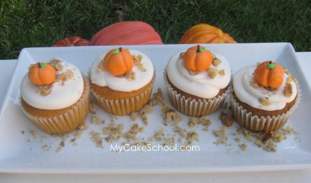 Delicious Pumpkin Spice Cake Doctored Mix Recipe- Plus fondant pumpkin cupcake topper tutorial! MyCakeSchool.com.