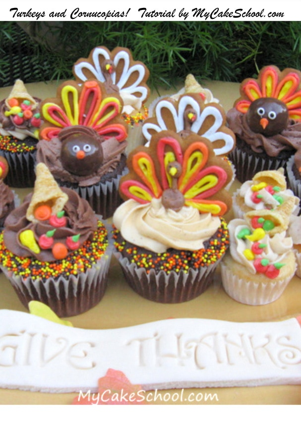 Turkeys & Cornucopias-Tutorial by MyCakeSchool.com