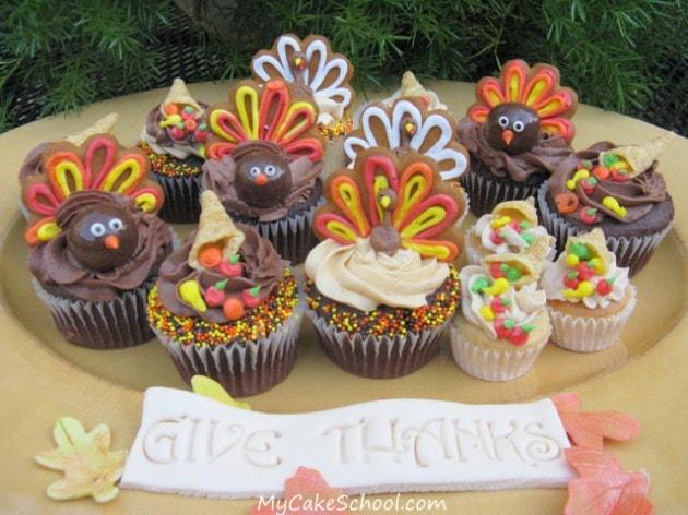Turkeys & Cornucopias- More Cupcakes to Gobble Gobble.– Blog Tutorial
