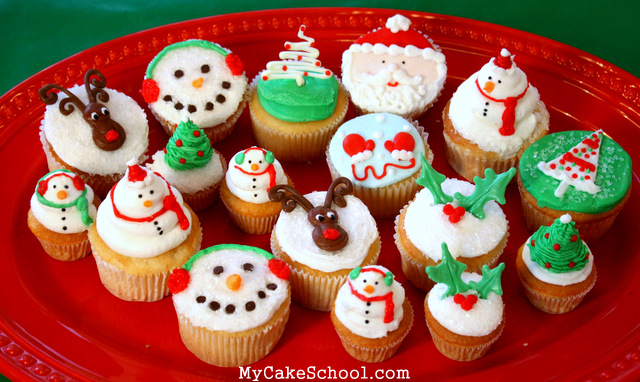 Adorable Christmas and Winter Cupcake Tutorial by My Cake School!