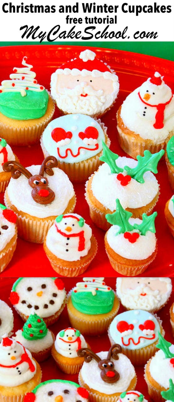 The Cutest Christmas and Winter Cupcake Tutorial by MyCakeSchool.com! Perfect for Winter and Christmas Parties!