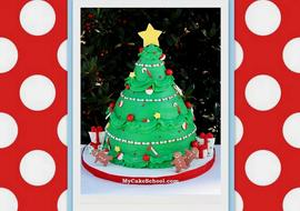 The cutest Christmas Tree Cake Video Tutorial by MyCakeSchool.com!
