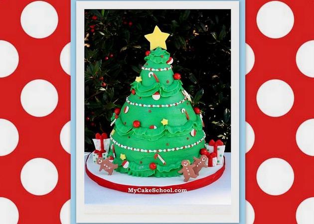 The cutest Christmas Tree Cake Video Tutorial by MyCakeSchool.com!