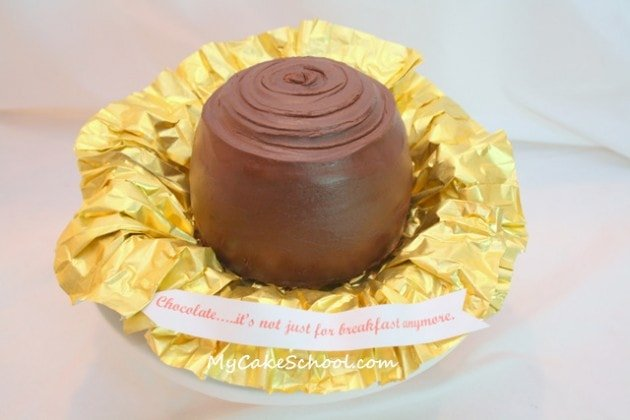 This Cake looks like a BIG Piece of Chocolate Candy! Free Tutorial by My Cake School!