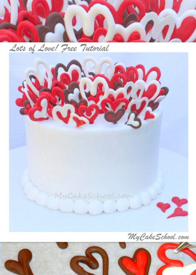 Lots of Love! Adorable Free Valentine's Day Cake Tutorial by MyCakeSchool.com, featuring chocolate hearts!
