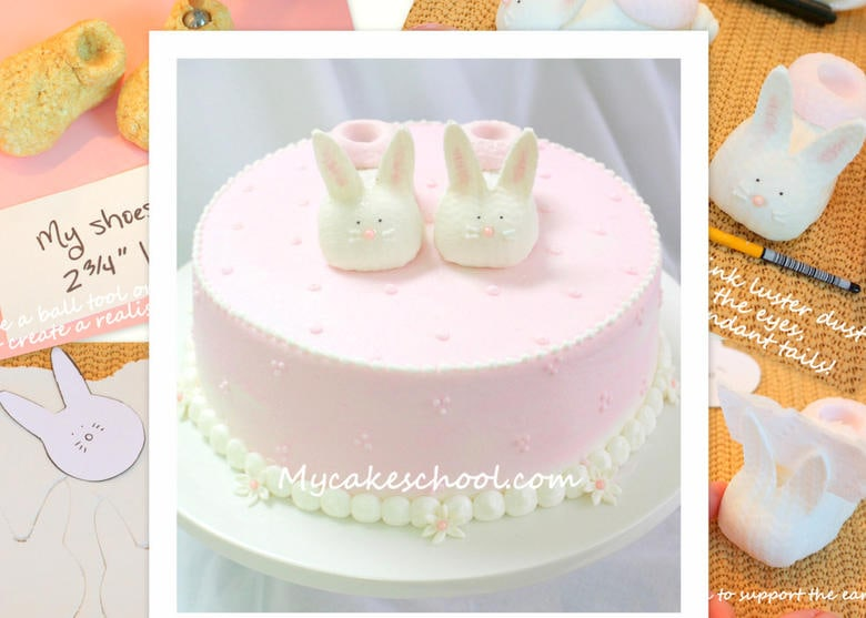Free Cake Tutorial for ADORABLE Bunny Baby Shoes Cake Topper! Adorable for baby showers and young birthday parties! My Cake School!