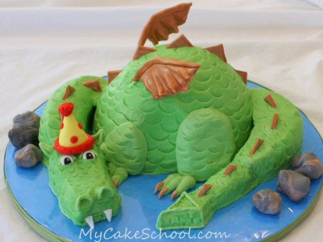 Learn to Make a Dragon Cake in this My Cake School video tutorial!