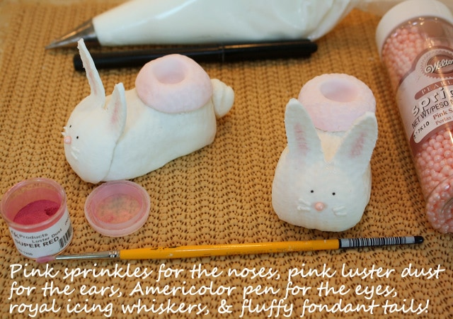CUTE Bunny Baby Booties for Baby shower cakes! Learn how to make this adorable baby shower cake topper in MyCakeSchool.com's free step by step cake decorating tutorial!