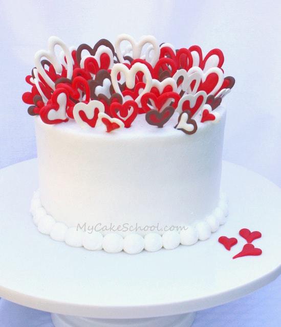 Valentine's Day Hearts Cake- A free step by step cake tutorial by MyCakeSchool.com