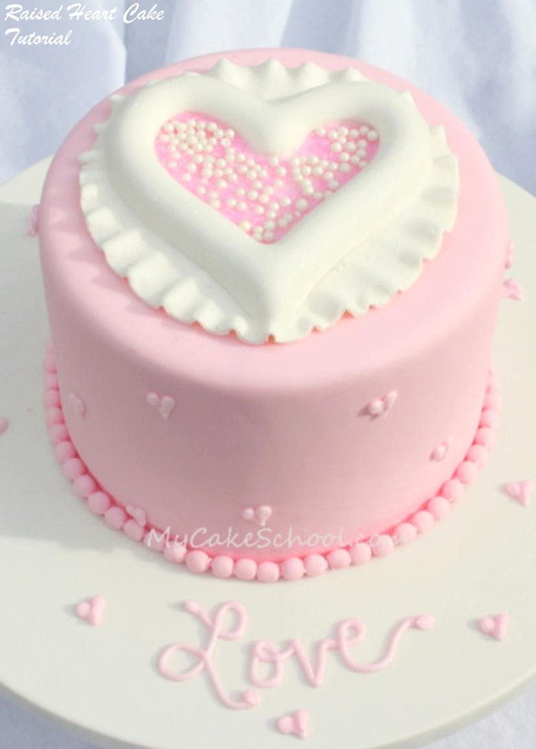 Cute Raised Heart Cake Design by MyCakeSchool.com. This free cake tutorial is perfect for Valentine's Day!