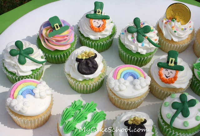 Adorable St. Patrick's Day Cupcake Tutorial by MyCakeSchool.com! Online cake tutorials, videos, recipes, and more!