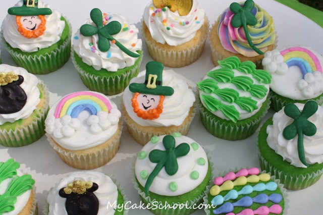 Adorable St. Patrick's Day Cupcakes! Tutorial by MyCakeSchool.com.