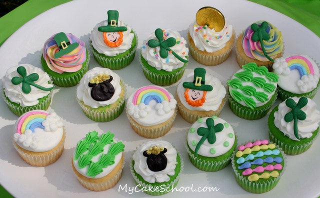 Adorable St. Patrick's Day Cupcake Designs by MyCakeSchool.com! Free tutorial!