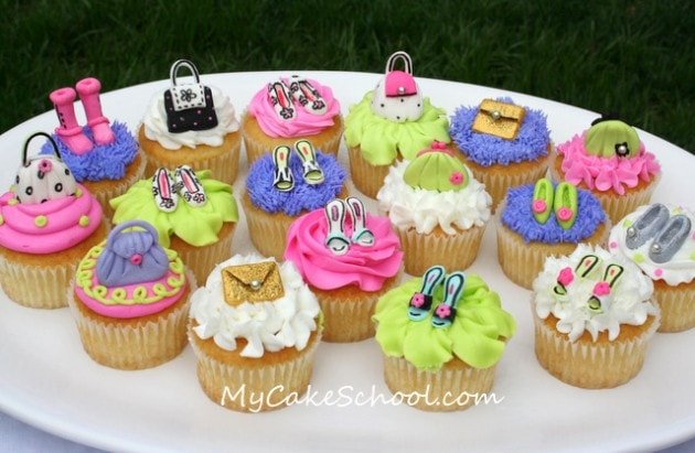 Adorable Purse and Shoe Cupcakes! From MyCakeSchool.com's cupcake video tutorial!