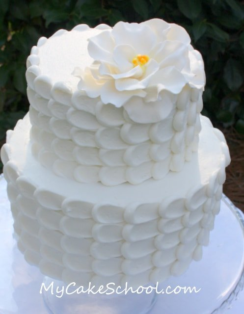 Elegant Buttercream Petal Cake Tutorial by MyCakeSchool.com! Online Cake Classes & Recipes!