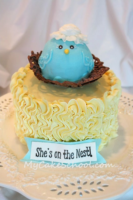 She's on the Nest! Adorable Baby Shower Cake tutorial by MyCakeSchool.com!